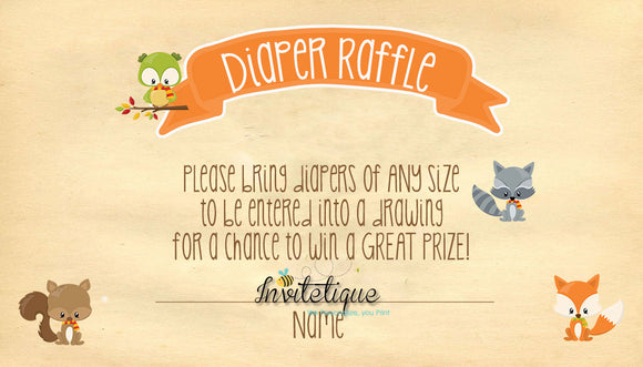 Sweet Woodland Diaper Raffle Ticket - Invitetique