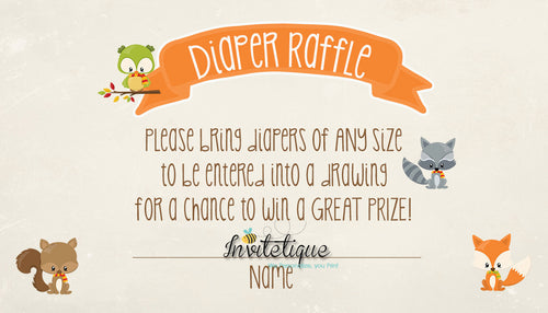 Sweet Woodland Diaper Raffle Ticket Neutral
