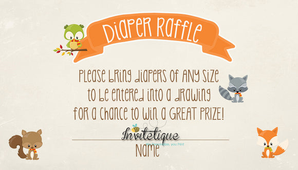 Sweet Woodland Diaper Raffle Ticket Neutral - Invitetique