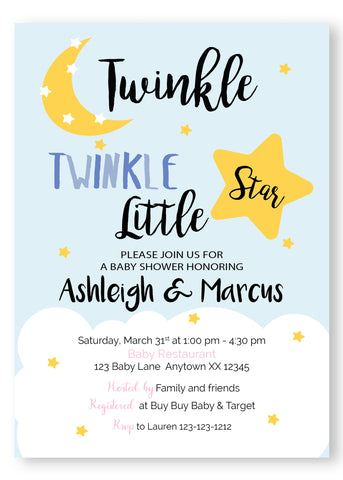 Twinkle Twinkle Baby Shower Invitation - Blue - Invitetique