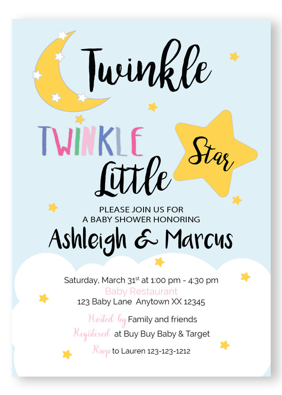 Twinkle Twinkle Baby Shower Invitation - Multi - Invitetique