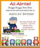 Train Locomotive Birthday invitation - Invitetique
