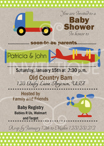 Transportation Baby Shower Invitation - Invitetique