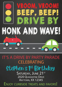 Drive by birthday parade Chalk invitation- Digital