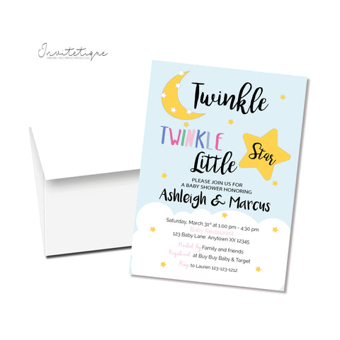 Twinkle Twinkle Baby Shower Invitation - Multi color - Invitetique