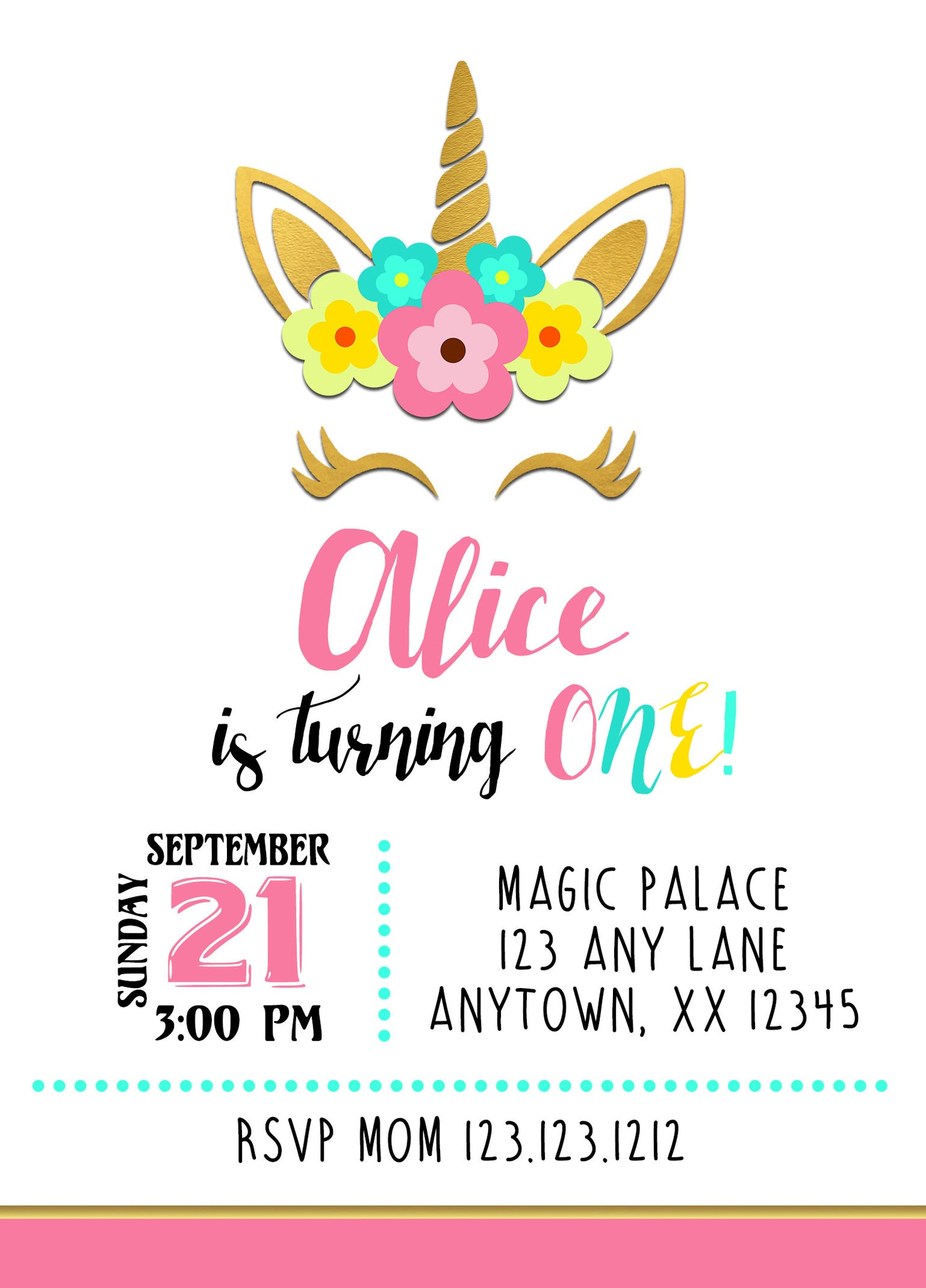 Pink & Gold Unicorn Birthday Invitations – Invitetique