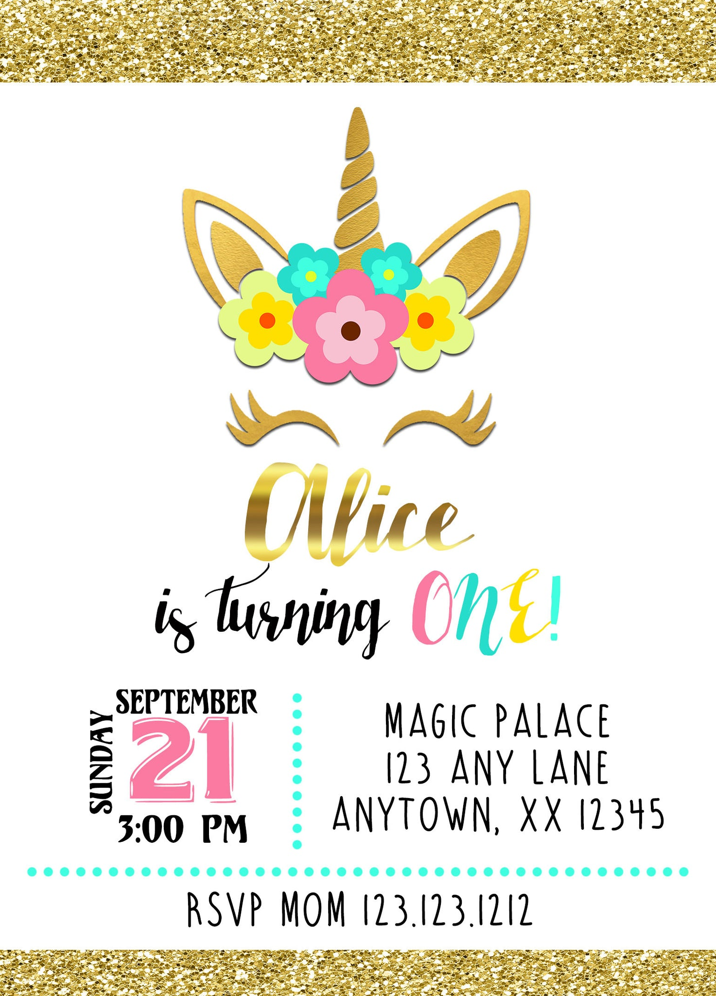 Magical Unicorn Birthday Invitations – Invitetique
