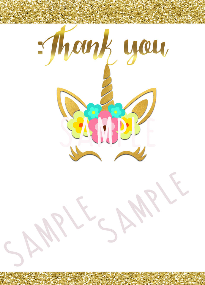 Gold Glitter Flower Unicorn Party Fill in the Blank thank you Notes