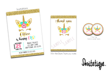 This magical unicorn floral invitation.  Thank you notes and favor tags sold separately