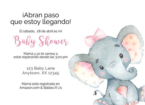 Baby Elephant Baby Shower Invitaciones - Invitetique