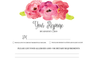 Watercolor Flower RSVP Card - Invitetique