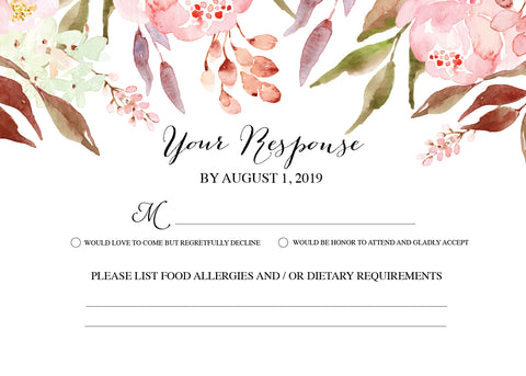 Floral Botanical RSVP Card - Invitetique