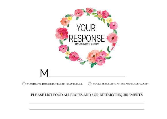 Floral Wreath RSVP Card - Invitetique