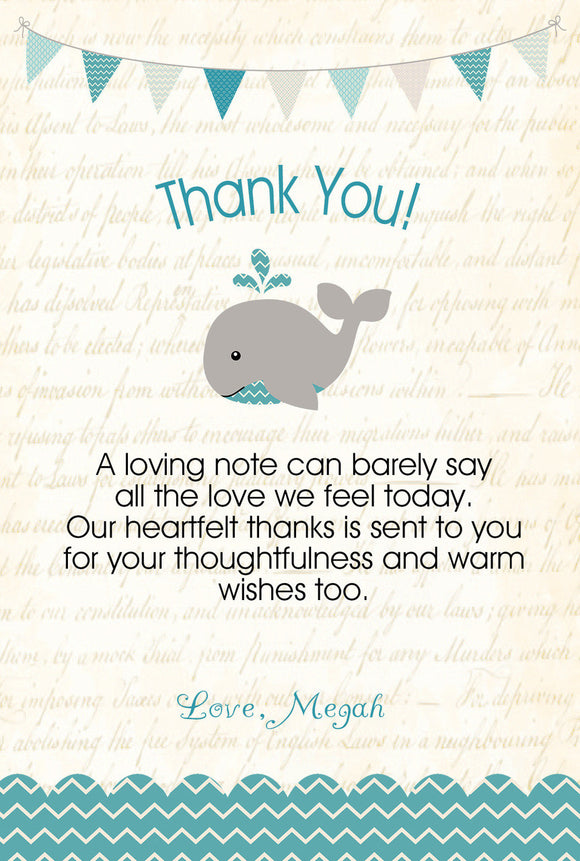 Teal Whale Thank You note - Invitetique