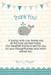 A Happy whale Thank you notes - Teal - Invitetique