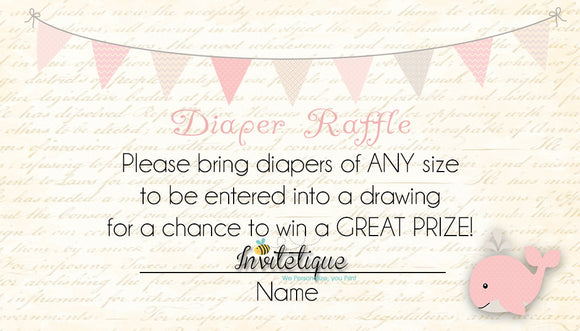 Whale Pink Diaper Raffle Ticket - Invitetique