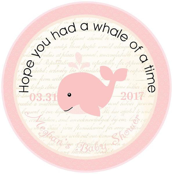 PINK WHALE CIRCLE FAVOR TAGS - Invitetique