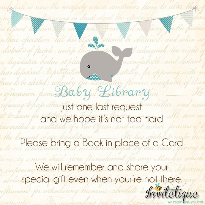 Whale Teal Baby Shower Book Request Card