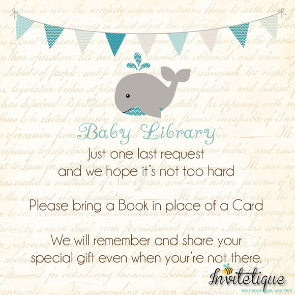 Whale Teal Baby Shower Book Request Card - Invitetique