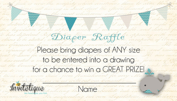 Whale Teal Diaper Raffle Ticket - Invitetique