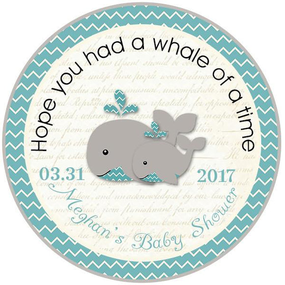TEAL WHALE AND SQUIRL CIRCLE FAVOR TAGS - Invitetique