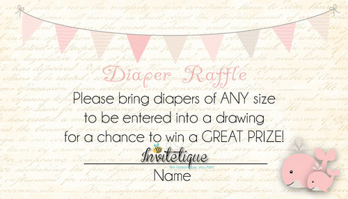 Whale and little Squirt Pink Diaper Raffle Ticket