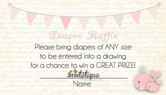 Whale and little Squirt Pink Diaper Raffle Ticket - Invitetique
