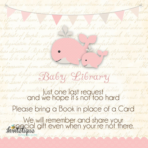 Whale and Little Squirt PInk Baby Shower Book Request Card