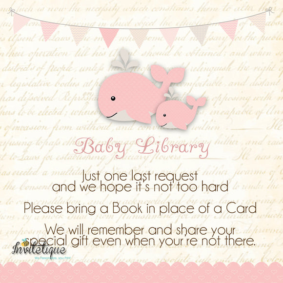 Whale and Little Squirt PInk Baby Shower Book Request Card - Invitetique