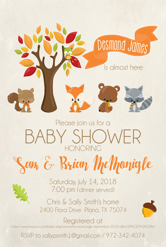 Sweet Woodland Friends Neutral Baby Shower Invites - Invitetique