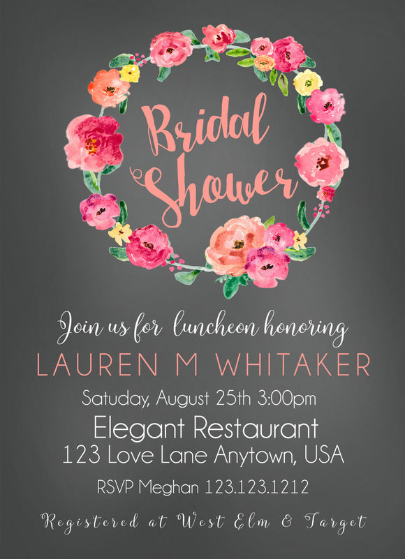 Watercolor Flower Wreath Bridal Shower Invitatons - Invitetique