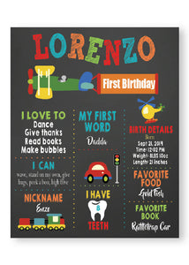Cars, airplane, train, cars milestone birthday party poster