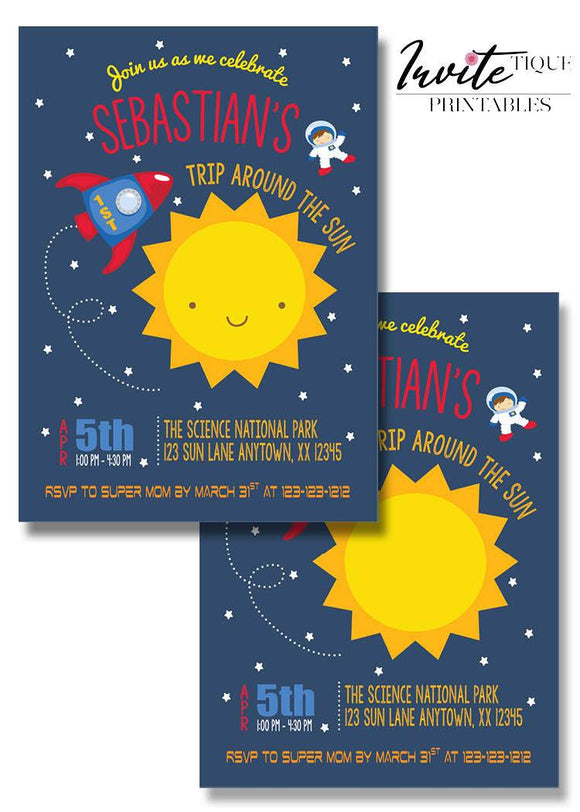 Around the sun birthday invitation