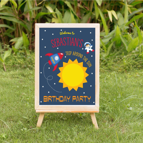 1st turn around the sun boy birthday sign digital