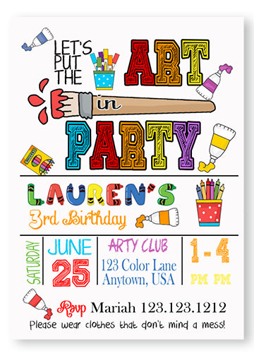 Art Themed Birthday party invitations - Invitetique