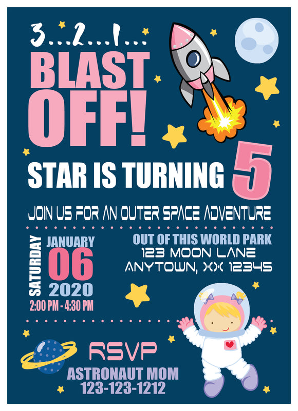 Blast Off girl Invitation - Digital