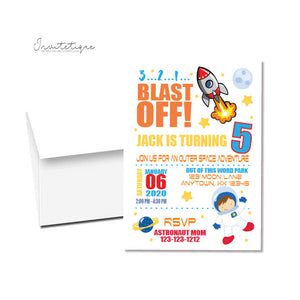 personalized galaxy space astronaut birthday invitations