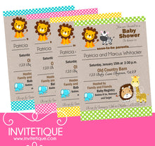 Jungle Baby Animals Baby Shower Invitations