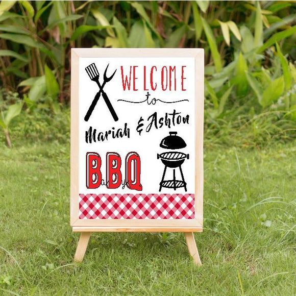 BBQ baby shower welcome sign, welcome sign, boy baby shower
