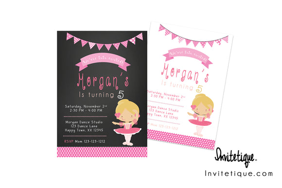 Ballet Birthday Invitations - Invitetique