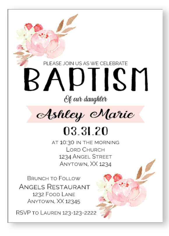 Pretty Pastel Peonies Baptism Invitation - Invitetique