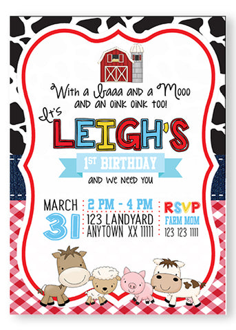Barnyard Birthday Invitations - Invitetique