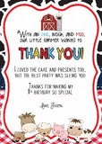 Barnyard Thank You card - Red - Invitetique