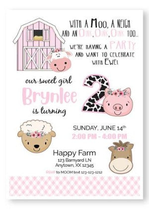 Pink barnyard first birthday invitation