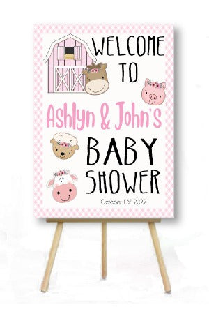 pink barnyard baby shower decoration