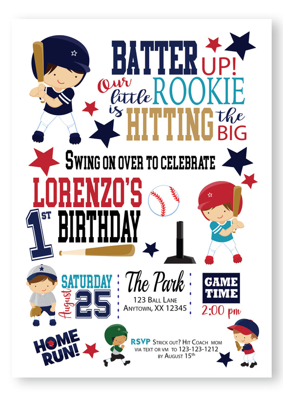 Rookie Year First Birthday Invitations - Invitetique