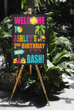 Beach bash welcome sign