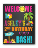 Beach Party Birthday Sign  - Chalk