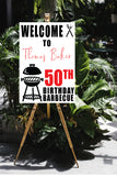 BBQ welcome birthday 50th sign