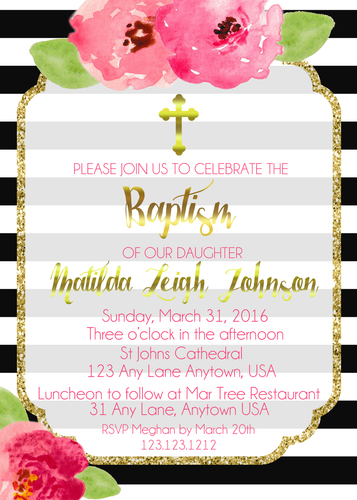 Simple Elegant Stripes Baptism Invites